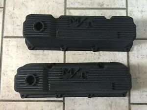Vintage Ford 351 Cleveland Holley M T Aluminum Valve Covers Black Nice