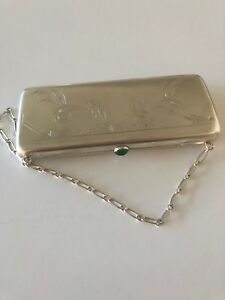 Woman Purse Wallet Russian Sterling Silver 84 Mark Green Jeweled Catch