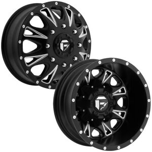 Set Of 4 fuel D513 Throttle Dually 17 Inch 8x6 5 Black milled Wheels Rims