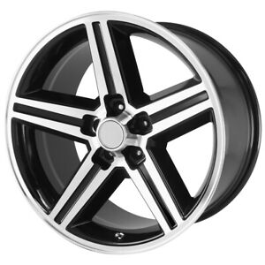 4 22 Inch Replica Iroc 22x9 5x127 5x5 10mm Black Machined Wheels Rims