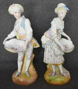 Gorgeous 1876 1881 Ch Levy Co Handpainted French Bisque Porcelain Figural Pair