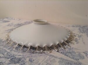 French Vintage White Opaline Glass Pie Crust Coolie Light Shade 1748