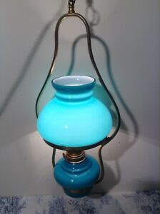 Vintage Farmhouse French Ceiling Oil Lamp Turquoise Glass Light Shade 2893