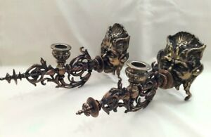 Old Set Chiselled Bronze Victorian Devil Demon Heads Blowing Candle Wall Sconces