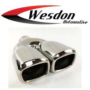 Exhaust Tip 2 25 Inlet 6 50 X 2 80 X 9 50 Dual Square Double Wall Stainless