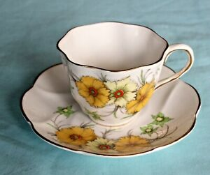 Fine Bone China Tea Cup And Saucer Salisbury Coreopsis Made In England Gilt Trim