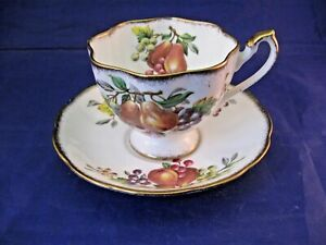 Vintage Queen Anne Tea Cup And Saucer Fruit Series England