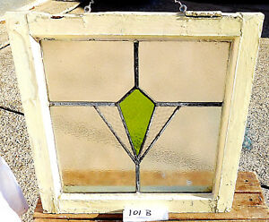18 X19 Old Vtg Geometric Art Deco Leaded Antique Stained Glass Window Green Hang