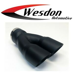 Exhaust Tip 3 00 Inlet Dual 3 00 X 9 50 Long Round Double Wall High Temp Black