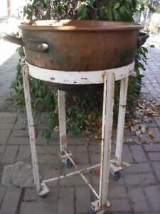 Antique Copper Kettle Round Bottom 21 In Chocolate Candy Making W Rolling Stand