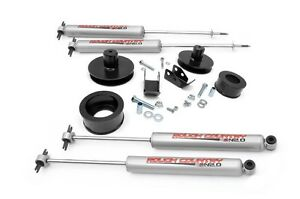 Rough Country 2 Suspension Spacer Lift Kit Jeep Tj Wrangler 97 06 With Shocks