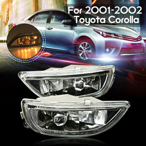 Pair Clear Lens Front Bumper Driving Fog Light For 2001 02 Toyota Corolla 2002