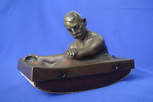 Adolf Pohl 1872 1938 Bronze Sculpture Figural Ink Blotter Signed Austria