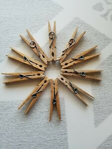 10 Vintage Primitive Curly Spring Wire Clothes Pins Wood Rustic Craft Laundry