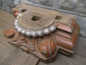 Antique Hand Carved Wooden Column Capital Base Architectural Salvage Pilaster D
