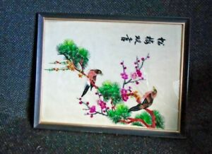 Antique Vtg Asian Japanese Chinese Silk Embroidery Wall Art Bird Tree