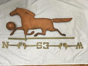 Vintage Antique Copper Weathervane 30 Running Horse Plus Parts