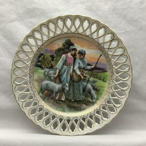 Antique Plate W Reticulated Edge Ladies Tending Sheep Gathering Flowers