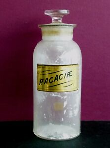 Antique Apothecary Pharmacy Label Under Glass Jar Bottle P Acaciae