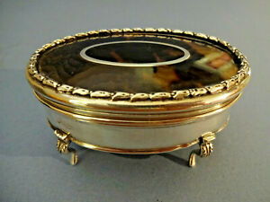 Antique Silver Ring Jewellery Box With Faux Tortoiseshell Lid H M London 1919