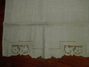 Unused Vintage Drawnwork Embroidered Huge Guest Show Towel Or A Window Panel