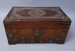 Antique 19c Continental Carved Decorated Walnut Box W Working Key