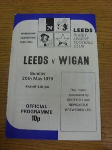 20 05 1979 Rugby League Programme: Leeds v Wigan Premiership Competition Semi F GBP 2.99