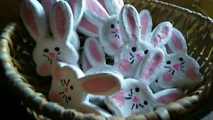 Primitive Farmhouse Country Faux Fake Easter Bunny Bunnies Cookies Ornies