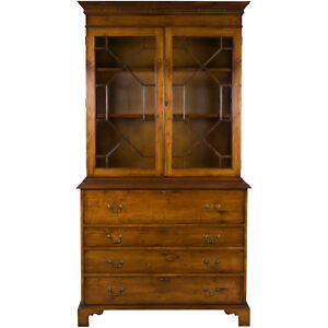 New Antique Style Large Yew Wood Secretaire Bookcase Butlers Desk Bureau Tall Fs