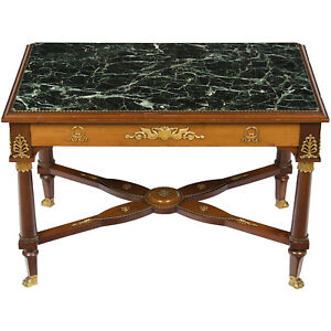 Antique French Empire Style Mahogany Marble Top Coffee Cocktail Table Small