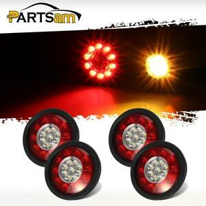 4x 4 3 Red amber 19 Led Truck Trailer Stop Turn Signal Tail Lights Rubber Mount