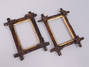 Antique Pair Adirondack 19c Chip Carved Walnut Giltwood Gesso Picture Frames