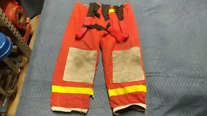 Red Morning Pride Firefighter Pants Turnout Bunker Gear Nomex 46 X 30 Fireman