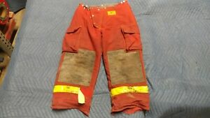 Red Morning Pride Firefighter Pants Turnout Bunker Gear Nomex 36 X 28 Fireman
