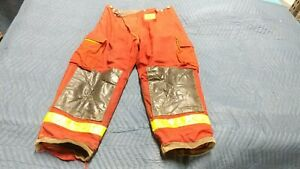 Red Morning Pride Firefighter Pants Turnout Bunker Gear Nomex Aramid 42 X 30