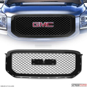 For 15 20 Gmc Yukon Glossy Black Mesh Front Hood Bumper Grill Grille Guard Abs