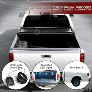 For 1994 2003 Chevy S10 Gmc Sonoma 6 Bed Tri Fold Soft Tonneau Cover Led Lights