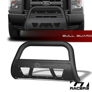 For 2004 2020 Ford F150 Matte Black Studded Mesh Bull Bar Grille Bumper Guard