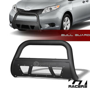 For 2011 2020 Toyota Sienna Matte Black Studded Mesh Bull Bar Brush Bumper Guard