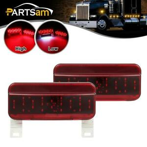 2x Rv Camper Surface Mount Red Led Stop Turn Tail Lights W license Plate Bracket
