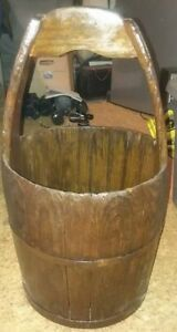 Ships Free Antique Primitive 1800 S Water Well Stave Wood And Iron Bucket
