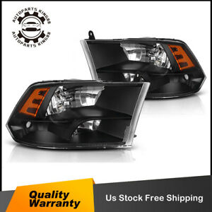 Black Housing Headlight Amber Side Quad Signal Reflector For 2009 2018 Dodge Ram