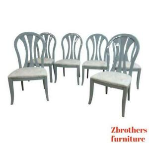 6 Vintage Lacquer Gunmetal Gray Century Furniture Dining Room Side Chairs Set