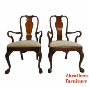 Henredon Cherry Ball And Claw Chippendale Dining Room Arm Chairs