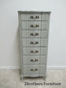 Vintage Painted French Provintal Sepentine Lingerie Chest Dresser Jewelery Box