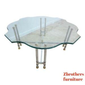 Vintage Mid Century Chrome Brass French Regency X Base Coffee Table