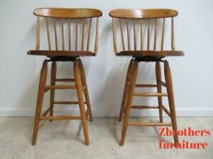Vintage Pair Oak Bent Brothers Windsor Back Counter Bar Stools Revolving A