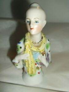 Antique Victorian Porcelain Half Doll Germany Art Deco W Scarf Purse Necklace