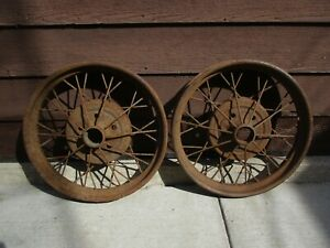 Antique Early Ford Spoke Wire Wheel Rims 22 X 4 Model A T Set Of 2 See Photo