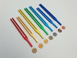 Seven Chakra Tuning Fork Color Therapy Energy Healing Mallet Free Shipping Wor